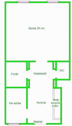 flat For rent 1081 Budapest II. János Pál pápa tér 45sqm 110000 HUF/month Property image: 2